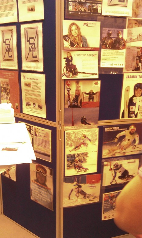 All the female Ladies Ski Club supported athletes posters on the stand!