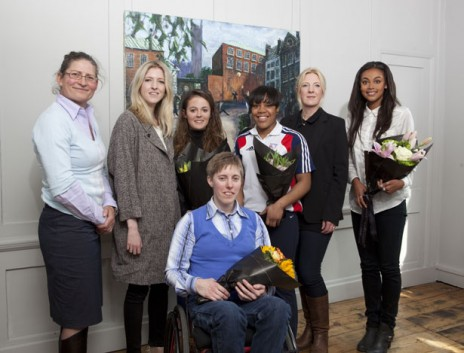 From left: Fair Game judge Guin Batten from the Youth Sport Trust (which supported Stylist's Fair Game bursary), Stylist acting editor Susan Riley, Jasmin, Fran, Nekoda, Nicky Waller from Adidas and Adele (Alex was away training)
