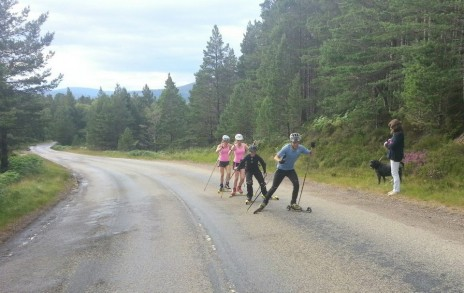 Hill Training with GB Biathlon Team member Rob Sircus and the girls from the Cairngorm Biathlon Club!