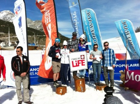 Photo of Jasmin Taylor collecting overall 3rd place at the 2012 telemark skiing French Championships