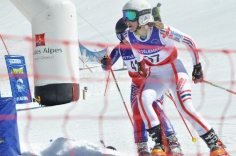 Photo of Jasmin Taylor in action at the 2012 Telemark Skiing French Championships