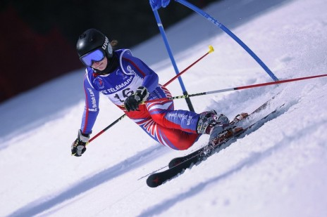 Photo of Jasmin Taylor in the telemark skiing French World Championships.