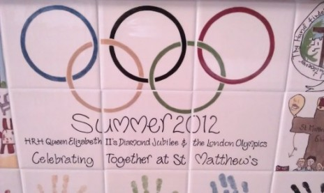 Photo of St.Matthew's Primary School students work on the 2012 Olympics