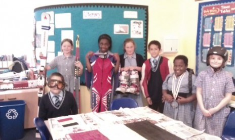 Photo of St.Matthew's Primary School students with Jasmins Ski equipment