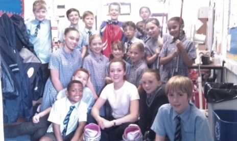 Photo of Jaz and St.Matthew's Primary School students