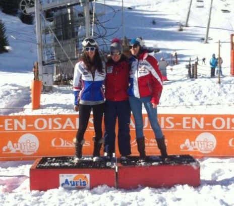 Enjoying the Podium with French National Team girls - Argeline Tan (Left) and Océane Verbeck (Right)