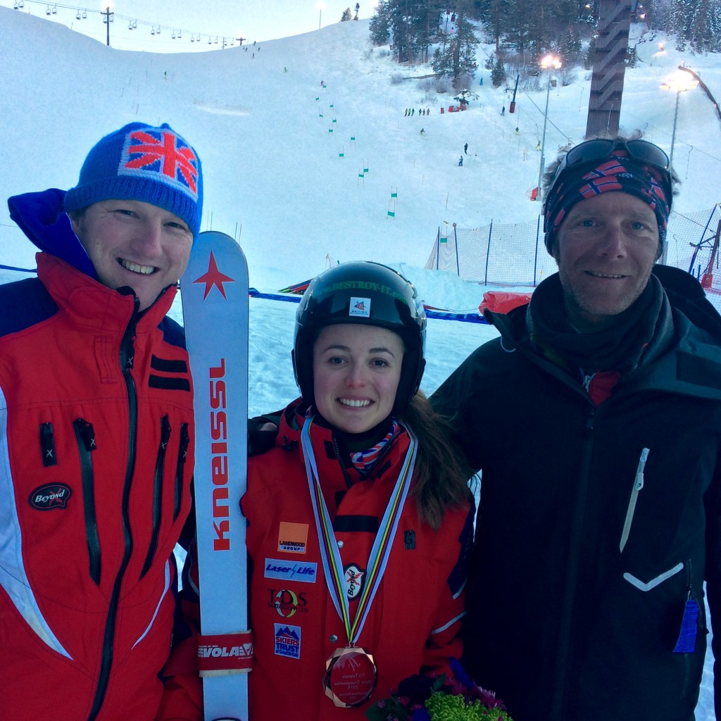 (L to R) Andrew Clarke (FIS Chairman and founder of British Telemark), Jasmin Taylor (me), Seb Mansart (my coach)