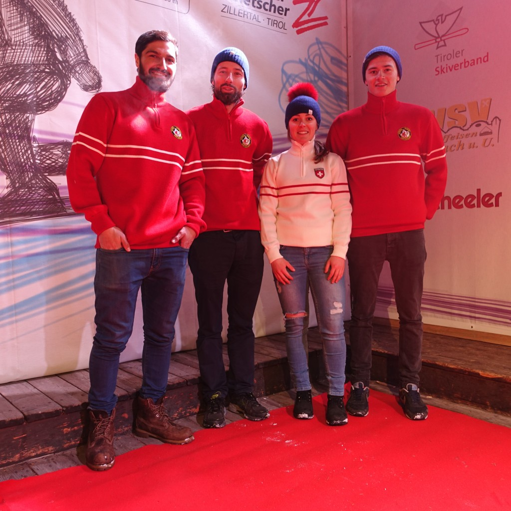 The team wearing Snow Angel Ski Wear jumpers