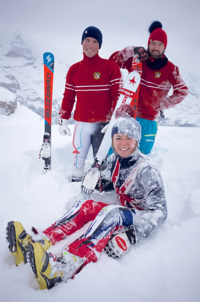 James French, Fred Thomas, Jasmin Taylor, Murren, Switzerland, British Telemark Championships 2016