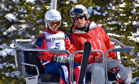 On the chairlift with my coach Sebastien Mansart having a pre-race chat (Photo credits and thanks to 'RSR Ski Racing')