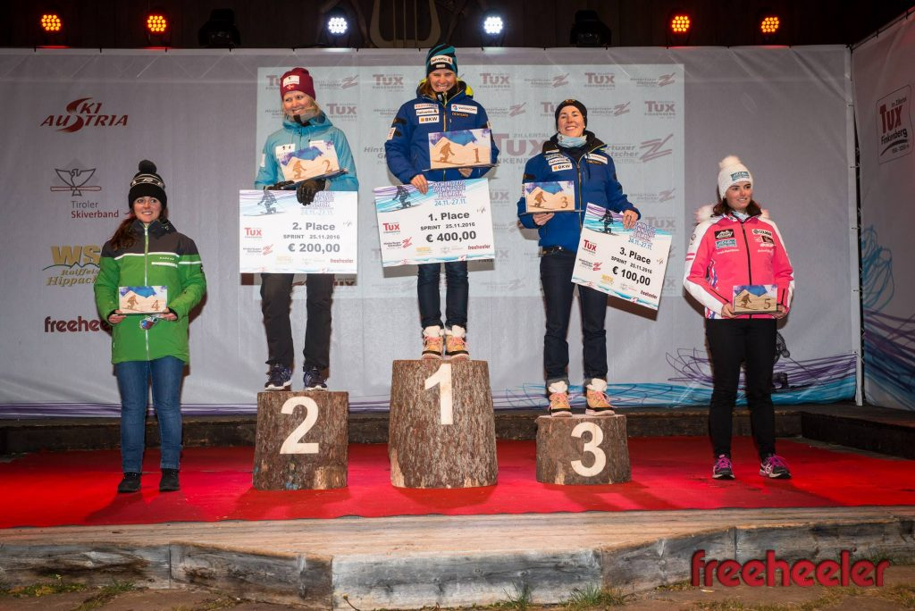 Jasmin Taylor GBR, Mathilde Ilebrekke NOR, Amelie Reymond SUI, Beatrice Zimmermann SUI, Maelle Froissart FRA (L to R) (Photo credit and thanks to FreeHeeler magazine)