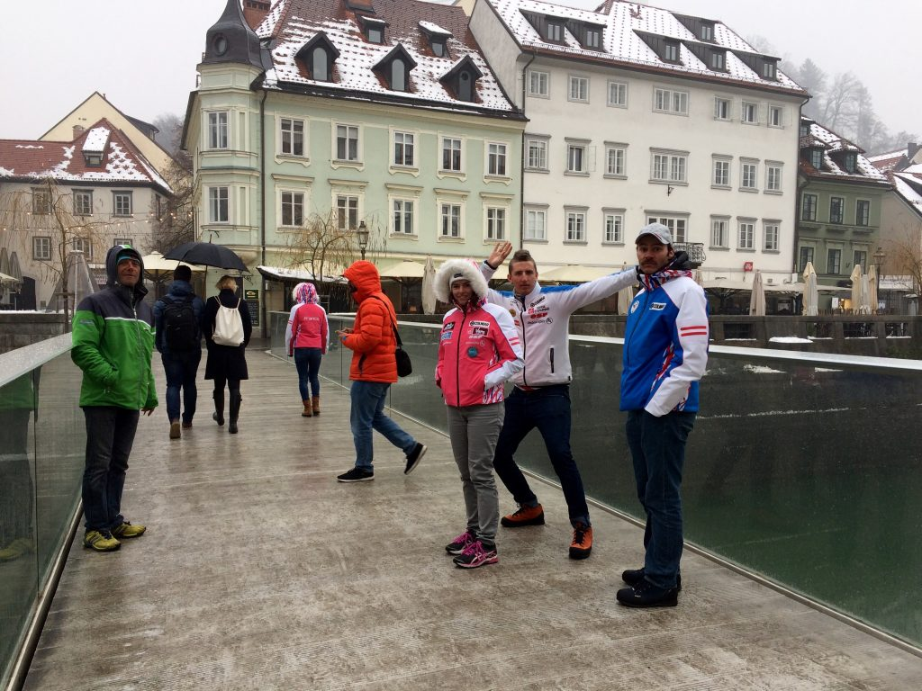 Tourists for the day in Ljubljana, Slovenia