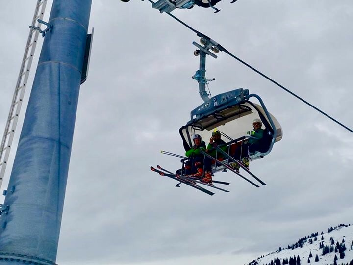 GB Telemark on the chair lift in Oberjoch, Germany