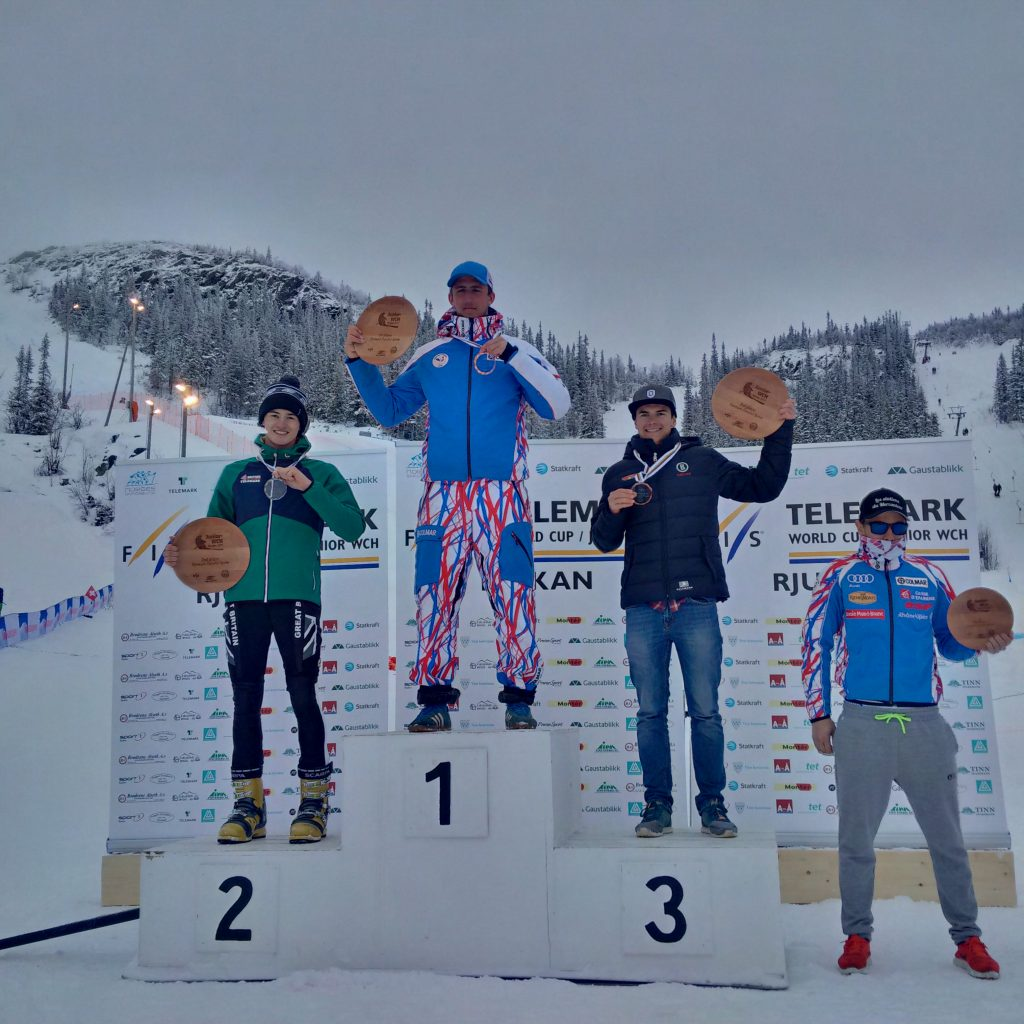 Jasper Taylor making history for GB Telemark on the World Junior Championship podium