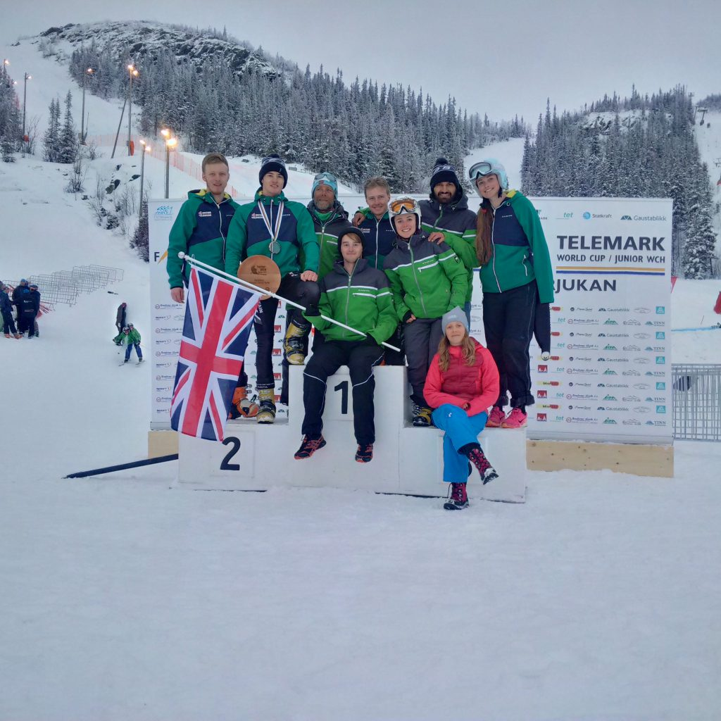 A happy GB Telemark Team along with coach and mascot