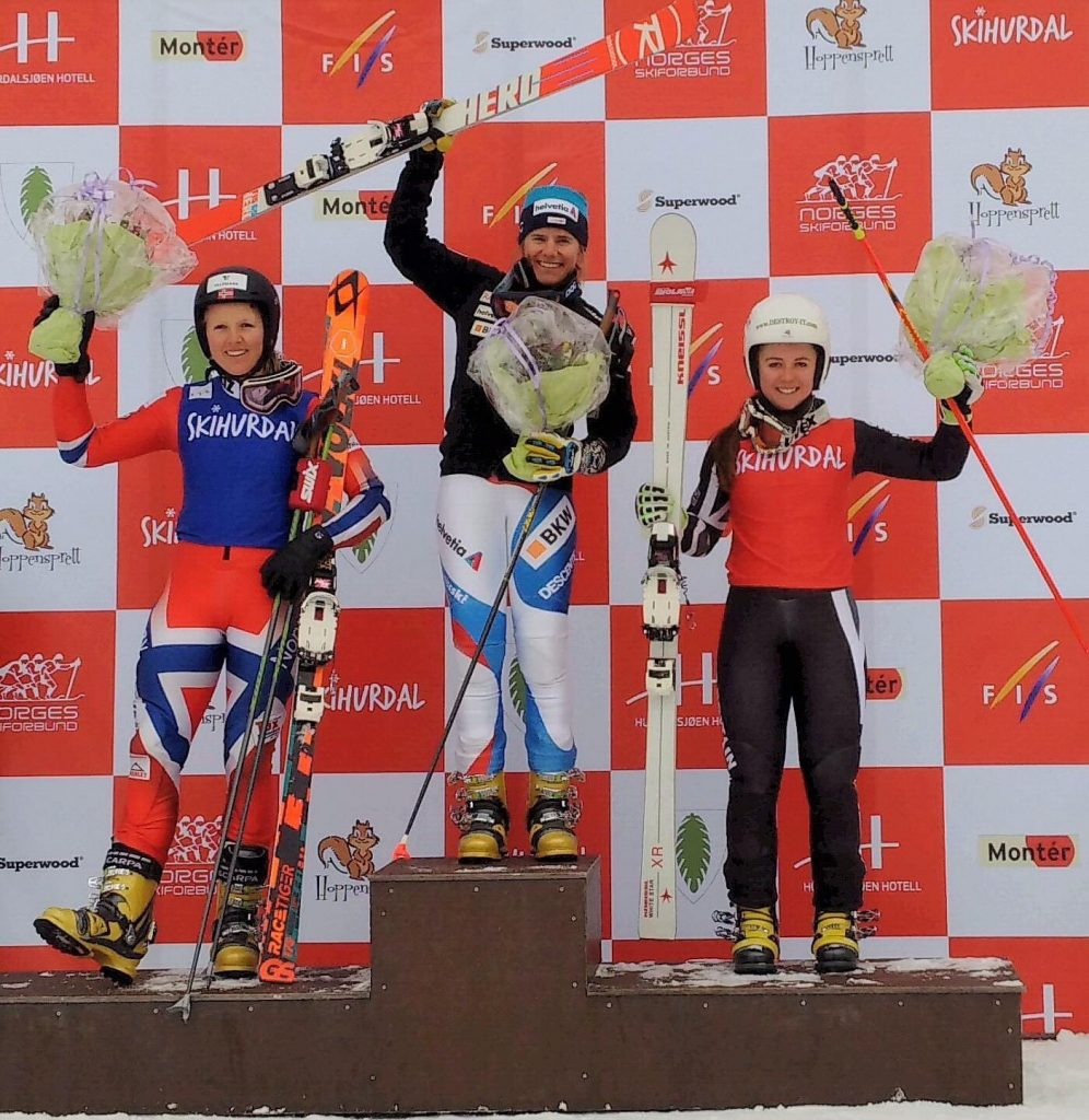 The Parallel Sprint Podium in Hurdal with Amelie Reymond (SUI) and Mathilde Ilebrekke (NOR)