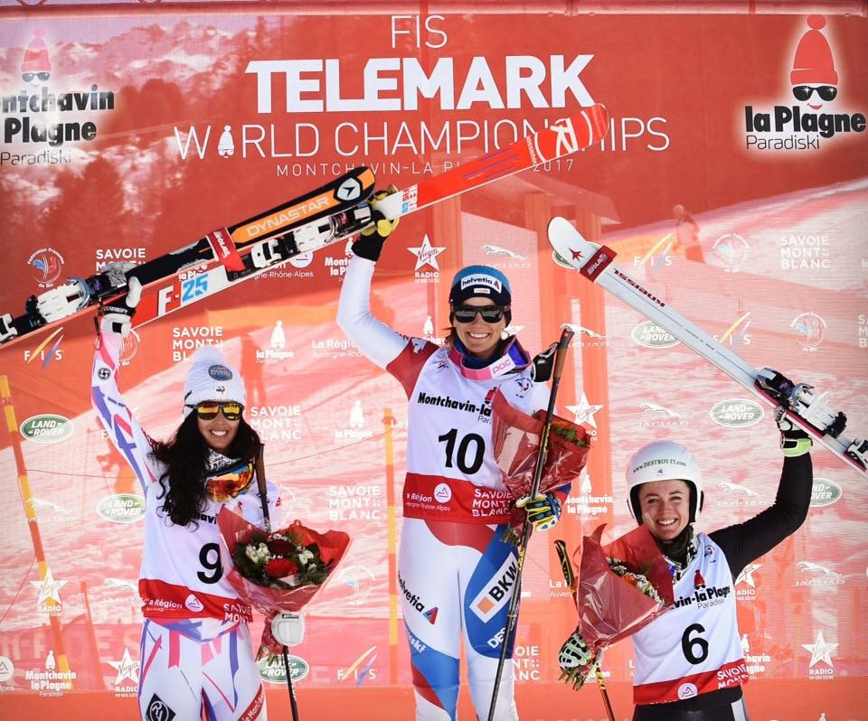 The Classic World Championship podium with (L to R) Argeline Tan Bouquet (FRA), Amelie Reymond (SUI), Jasmin Taylor (GBR) (Photo credits and thanks to Swiss Telemark)