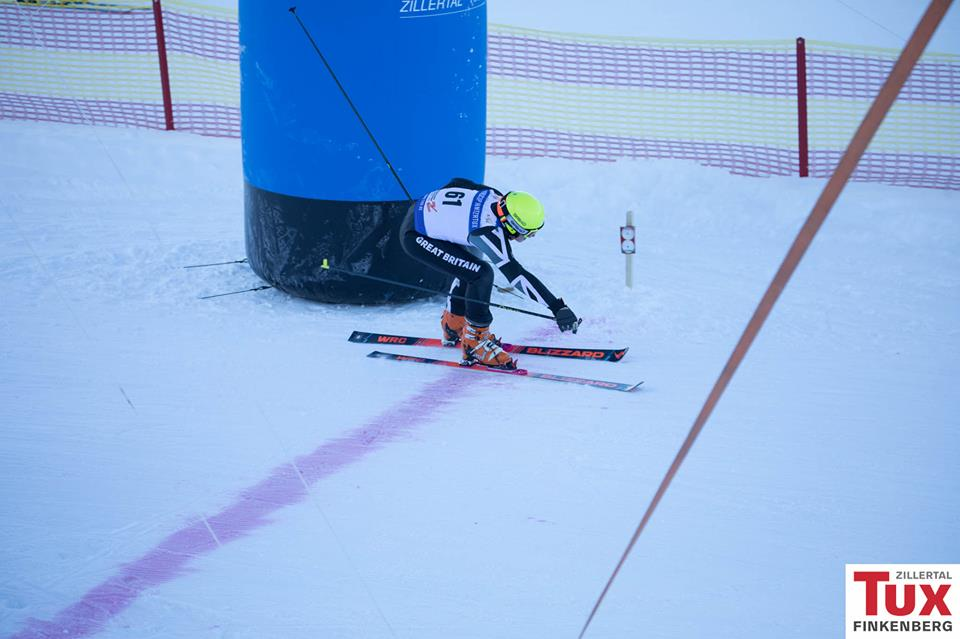 Alec Dixon across the finish line in Hintertux
