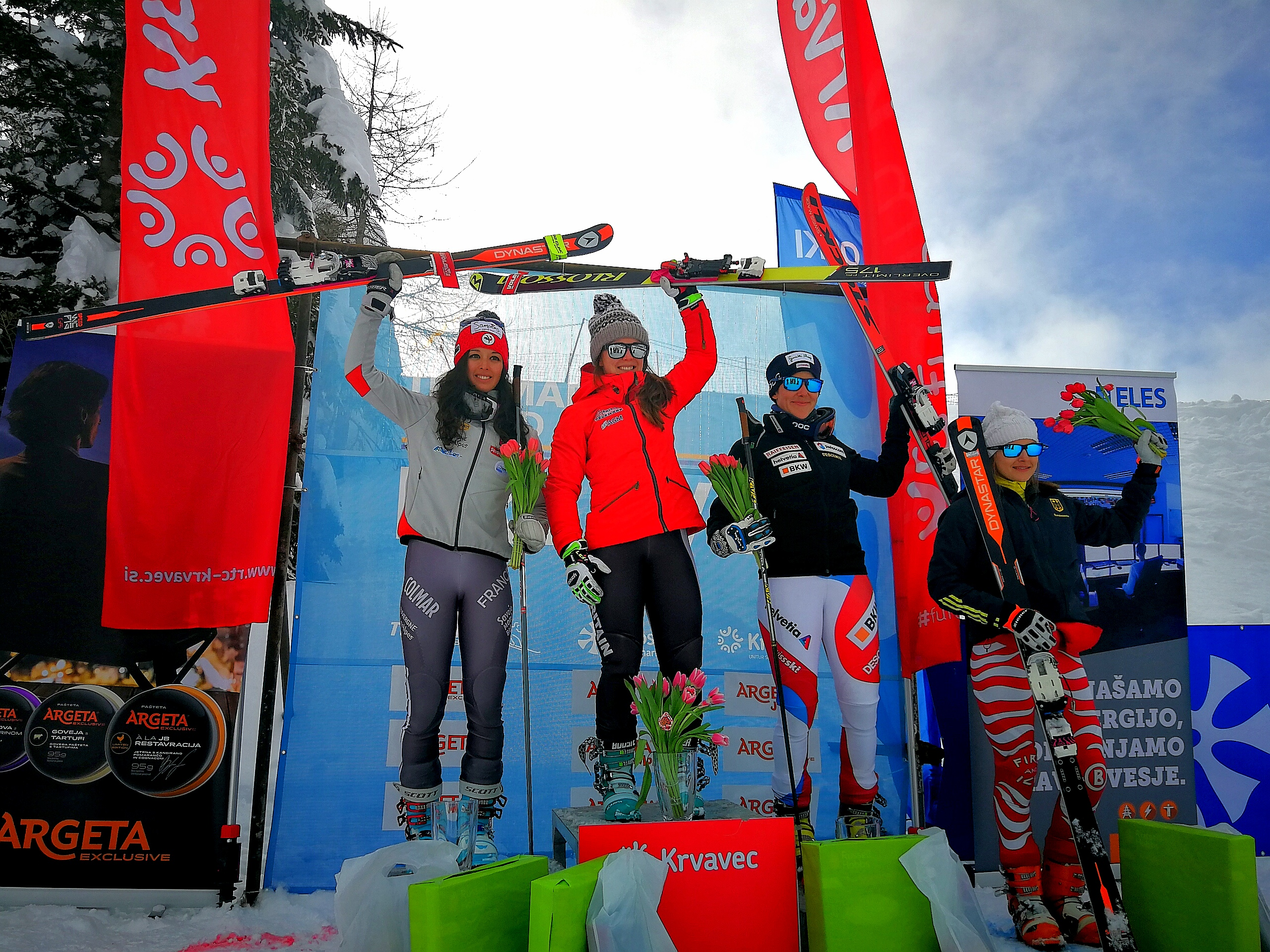 The podium with (L to R) Argeline Tan Bouquet (FRA), Jasmin Taylor (GBR), Beatrice Zimmermann (SUI)