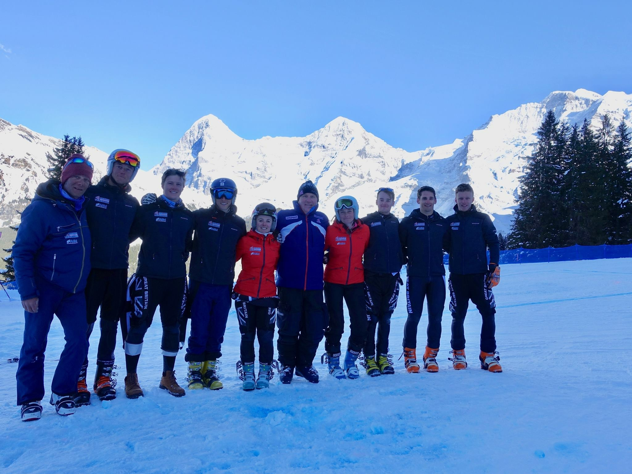 The GB Telemark Ski Team with British Ski & Snowboard CEO, Dave Edwards