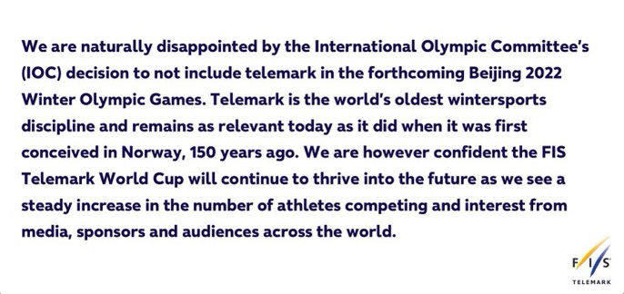 The official statement from FIS Telemark